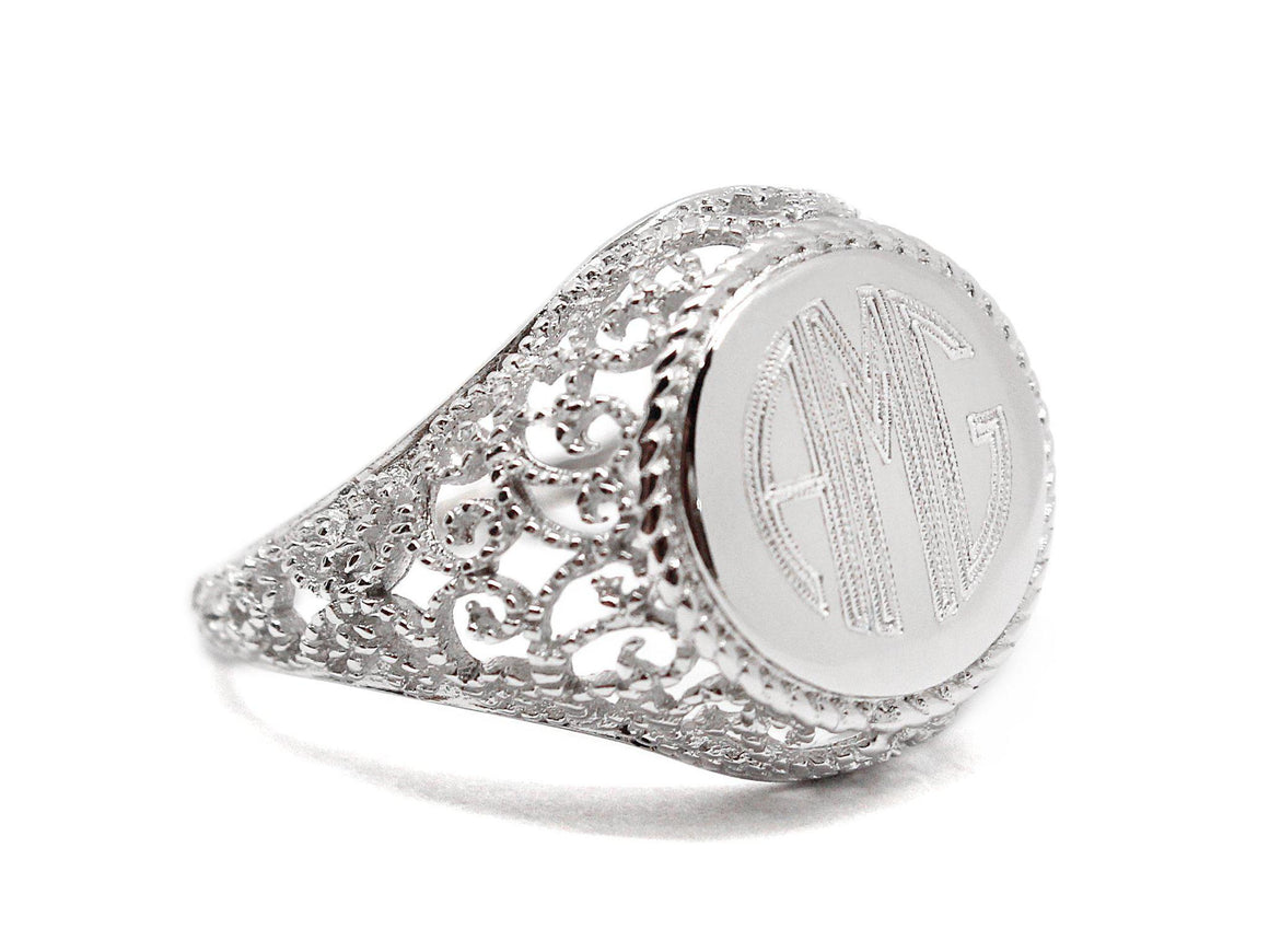 Sterling Silver Engravable Circle Filigree Ring - atlanta-jewelers-supply