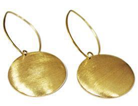 Engravable German Silver Shiny Gold Domed Long Wire Earrings - Atlanta Jewelers Supply