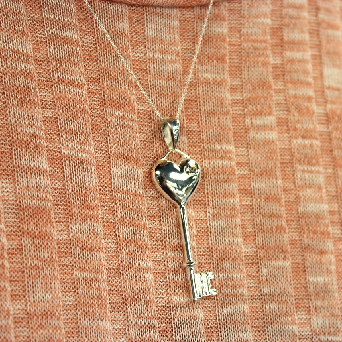 Sterling Silver Key To My Heart Pendant Necklace