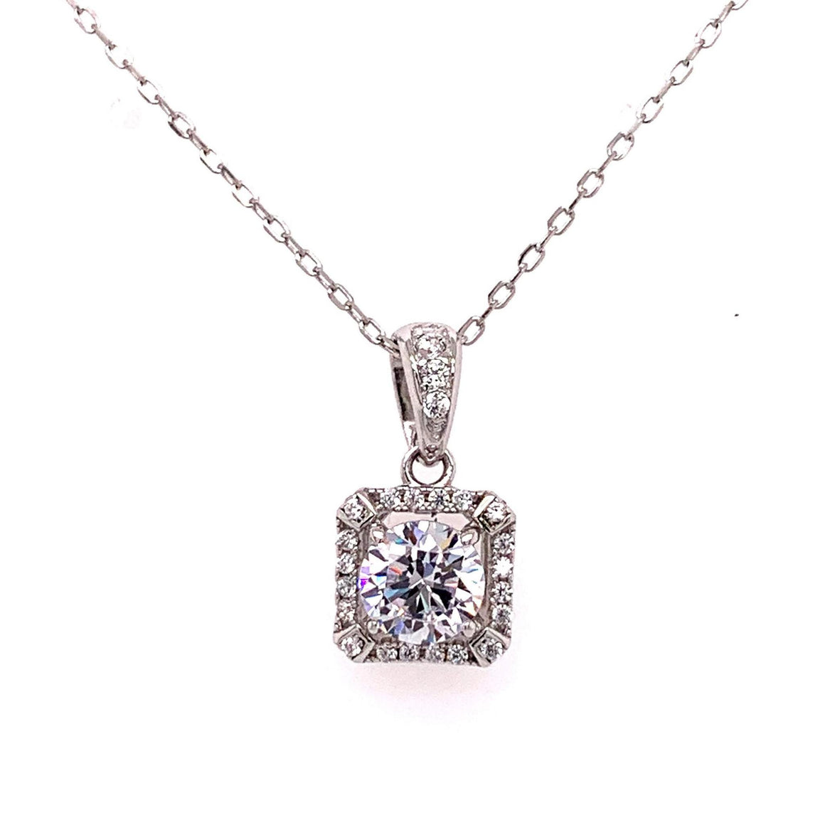 Sterling Silver Square Sparkle Necklace - Atlanta Jewelers Supply