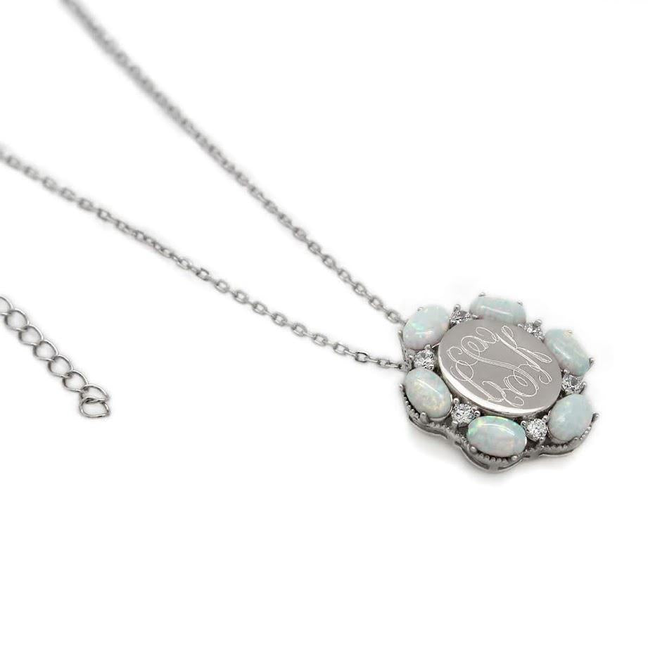 Sterling Silver CZ Opal Flower NECKLACE atlanta-jewelers-supply.myshopify.com