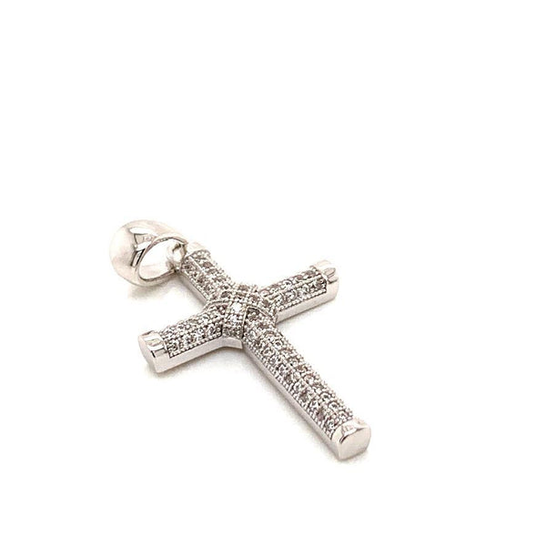 STERLING SILVER KNOT CZ CROSS PENDANT - Atlanta Jewelers Supply