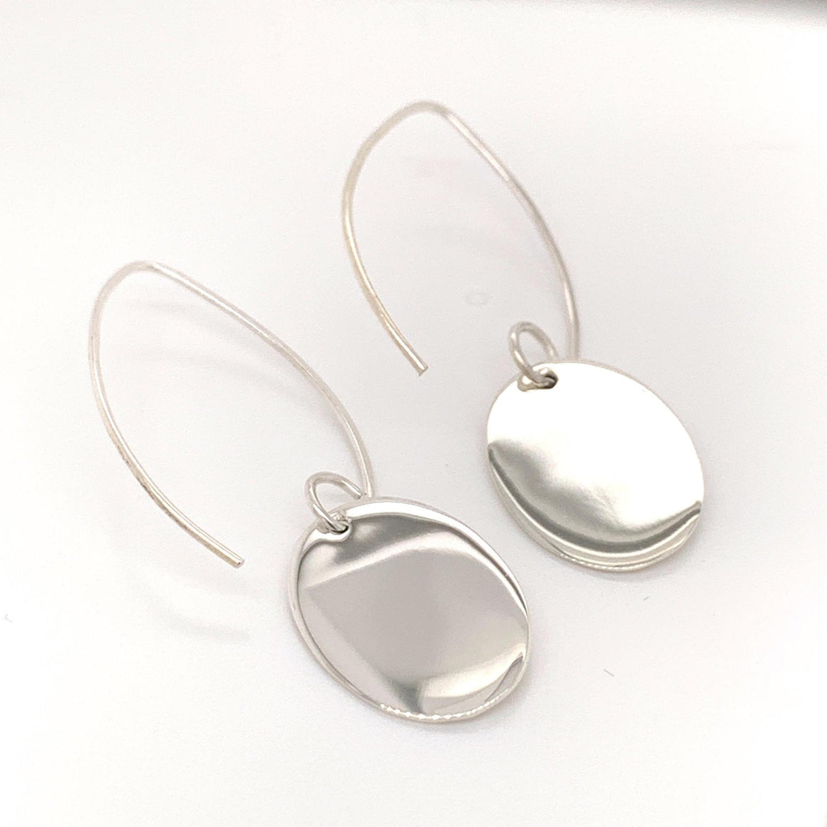 GERMAN SILVER OVAL ENGRAVABLE EARRINGS WITH LONG WIRE - Atlanta Jewelers Supply