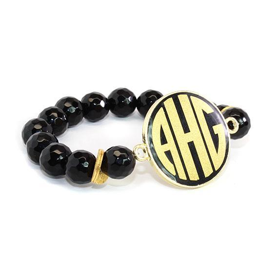 Fashion Stretchy Pearl Beaded Bracelet With Gold Colored Trimmed Black Enamel Disk - Atlanta Jewelers Supply