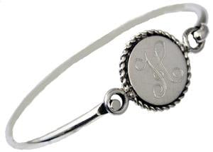Sterling Silver Bangle Bracelet With Round Engravble Disk With Rope Design - Atlanta Jewelers Supply