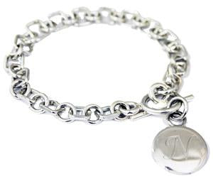 Sterling Silver Round Link Bracelet With Toggle Clasp And Engravable Disk - Atlanta Jewelers Supply