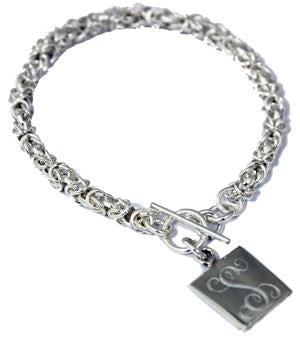 Sterling Silver Hanging Square Byzantine Bracelet - Atlanta Jewelers Supply