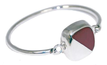 Sterling Silver Square Half Red Jasper Stone & Silver - Atlanta Jewelers Supply