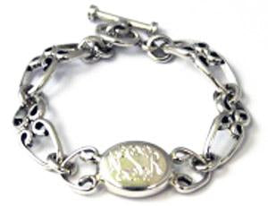 Sterling Silver Toggle Bracelets With Engravable Horizontal Oval Disc - Atlanta Jewelers Supply