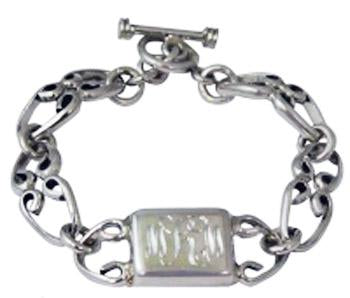 Sterling Silver Toggle Bracelet With Engravable Horizontal Rectangle Disc - Atlanta Jewelers Supply