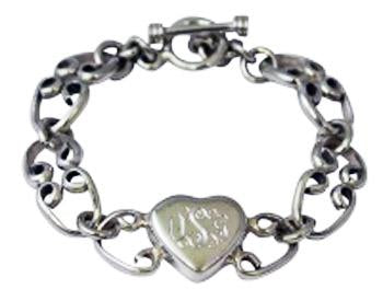 Sterling Silver Toggle Bracelet With Engravable Heart Disc - Atlanta Jewelers Supply