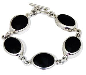 Sterling Silver Toggle Bracelet With Horizontal Oval Black Onyx Stone Links - Atlanta Jewelers Supply