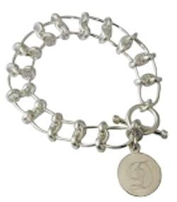 Sterling Silver Engravable Toggle Bracelet With Oval & Double Circle Links - Atlanta Jewelers Supply