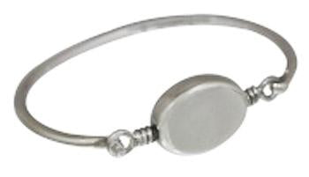 Sterling Silver Engravable Horizontal Oval Bracelet With Thin Wire Band - Atlanta Jewelers Supply