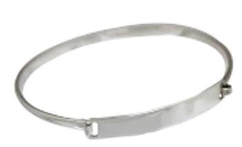 Sterling Silver Engravable Horizontal Rectangle Bracelet With A Thin Wire Band - Atlanta Jewelers Supply