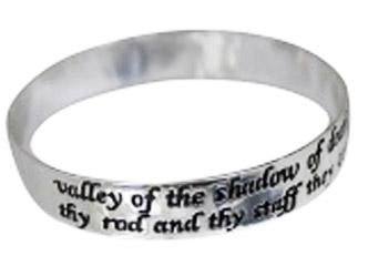 Sterling Silver Psalm 23:4 Religious Bangle Bracelet - Atlanta Jewelers Supply