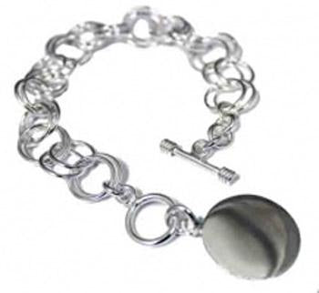 Sterling Silver Toggle Bracelet W/ Large Double Ring Links - atlanta-jewelers-supply