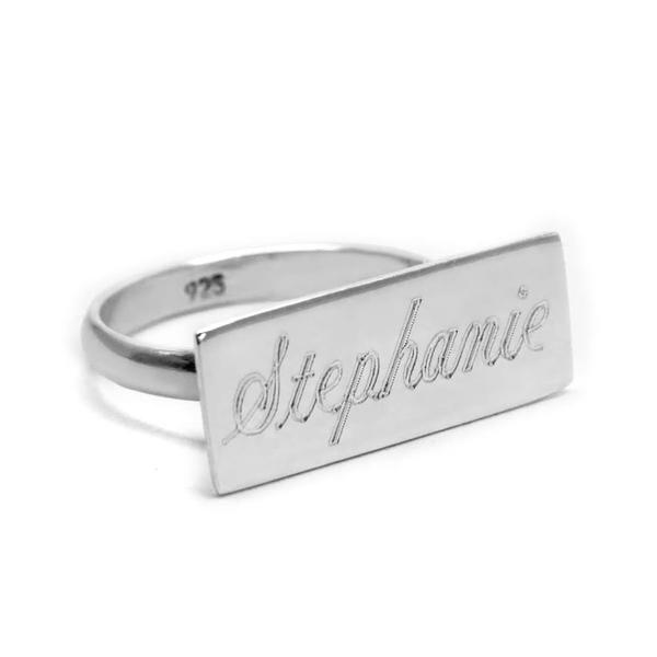Sterling Silver Engravable  Horizontal Bar Ring - Atlanta Jewelers Supply