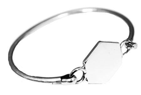 Children's Sterling Silver Engravable Hexagon Bangle Bracelet - Atlanta Jewelers Supply