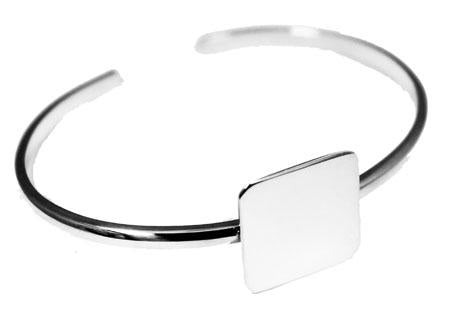 Sterling Silver Adjustable Engravable Square Baby Bracelet - Atlanta Jewelers Supply