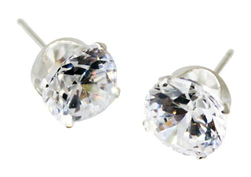 Sterling Silver 8MM Round CZ Stud Earrings - Atlanta Jewelers Supply