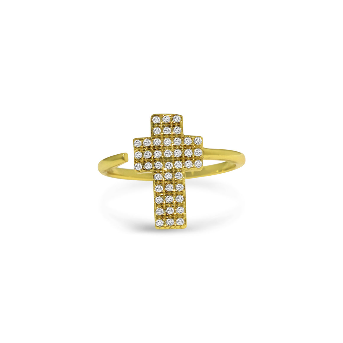 Sterling Silver Large Cross CZ Ring