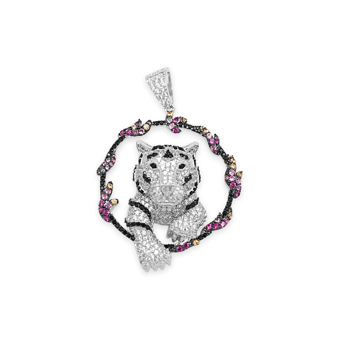 Sterling Silver Tiger Jumping Through Multi Colored Hoop CZ Pendant - Atlanta Jewelers Supply