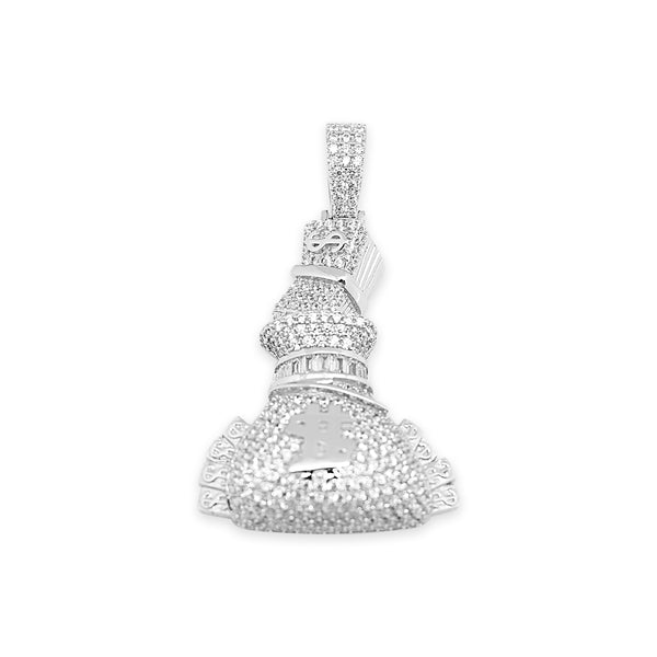 Sterling Silver Money Bag CZ Pendant - Atlanta Jewelers Supply