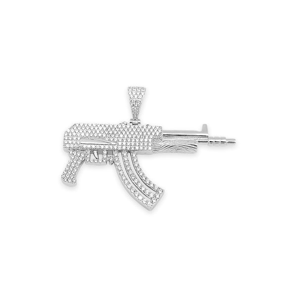 Sterling Silver AK47 CZ Pendant - Atlanta Jewelers Supply