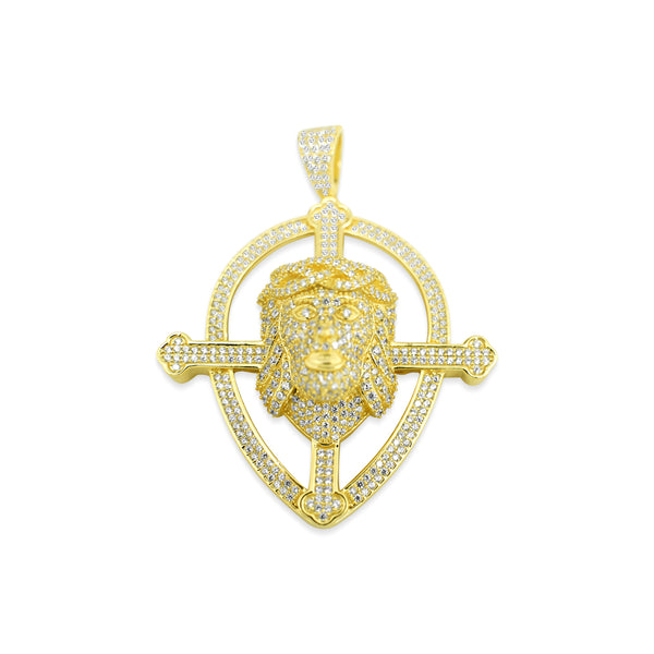 Sterling Silver Jesus Cross Shield Pendant - Atlanta Jewelers Supply