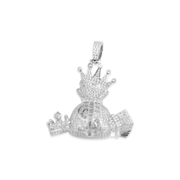 Sterling Silver Cash Is King CZ Pendant - Atlanta Jewelers Supply