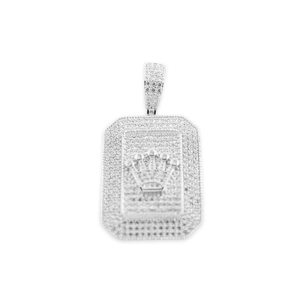 Sterling Silver Crown Card CZ Pendant - Atlanta Jewelers Supply
