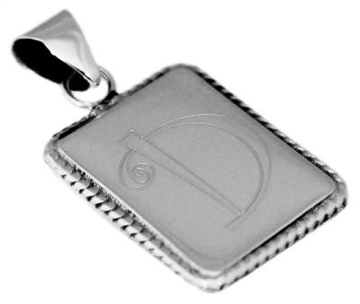 Vertical Rectangular Engravable Pendant With Rope Trim And Bail - atlanta-jewelers-supply