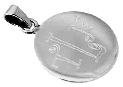 Sterling Silver Round Engravable 1 Inch Pendant With Bail - atlanta-jewelers-supply
