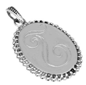 Sterling Silver Vertical Oval Engravable Pendant With Beaded Trim - atlanta-jewelers-supply