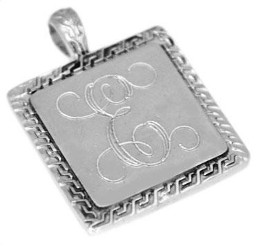 Sterling Silver Square Engravable Greek Trimed Pendant - atlanta-jewelers-supply