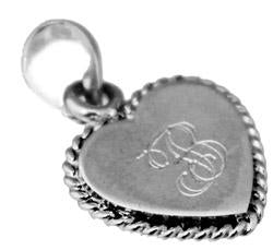 Sterling Silver Engravable Heart Pendant With A Rope Trim - Atlanta Jewelers Supply