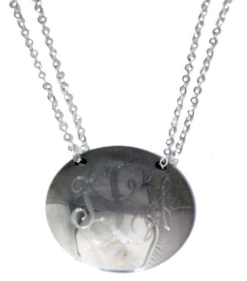 Sterling Silver Large Circle Dome Engravable Pendant With Necklace 18'' - atlanta-jewelers-supply