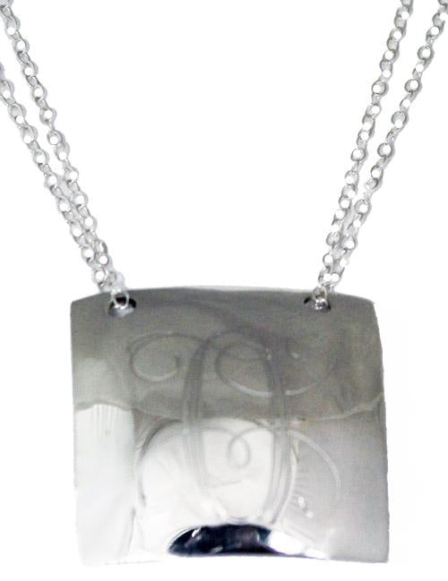 Sterling Silver Squaredome Engravable Pendant With Necklace 18'' - Atlanta Jewelers Supply
