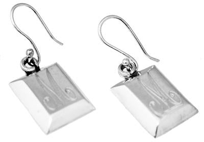 Sterling Silver Rectangle Puffed Beveled Edge Engravable Earring - Atlanta Jewelers Supply
