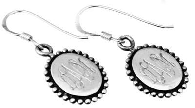 Sterling Silver Dangle Oval Beaded Engravable Earrings atlanta-jewelers-supply.myshopify.com