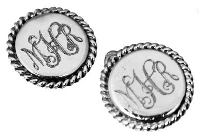 Sterling Silver Round Nickel Sized Earring With Roped Edges - atlanta-jewelers-supply