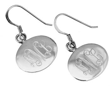 Sterling Silver Engravable Horizontal Oval French Wire Earrings - atlanta-jewelers-supply