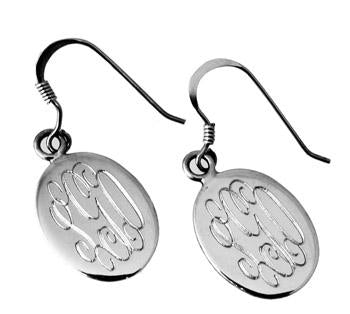 Sterling Silver Engravable Vertical Oval French Wire Earrings - Atlanta Jewelers Supply