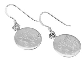Sterling Silver Engravable Round French Wire Earrings - atlanta-jewelers-supply
