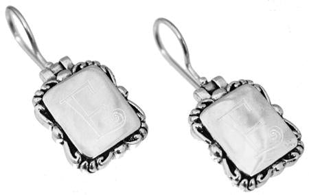 Sterling Silver Engravable Square Earrings With Designed Trim - Atlanta Jewelers Supply