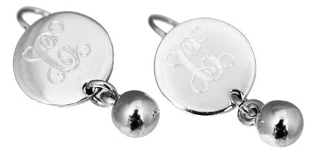 Sterling Silver Engravable Round Earrings W/ Bead Dangle - atlanta-jewelers-supply