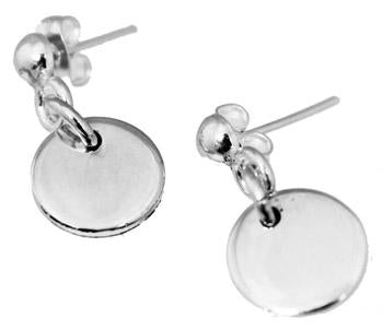 Sterling Silver Dime Size Engravable Round Earrings - Atlanta Jewelers Supply
