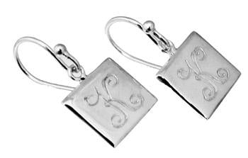 Sterling Silver Engravable Square French Wire Earring - atlanta-jewelers-supply