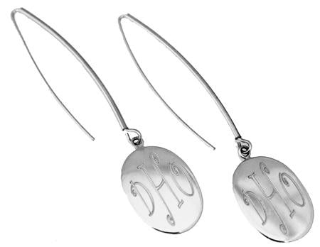 Sterling Silver Oval Engravable Earring On Long Wire - atlanta-jewelers-supply